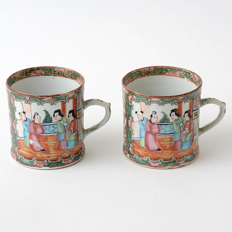 """Pair of Chinese Export Porcelain """"Canton rose"""" Mugs, late 19th C."""