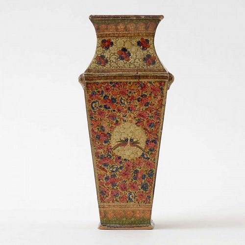 Antique Kashmir Lacquered Papier-Mache Vase, 19th C.
