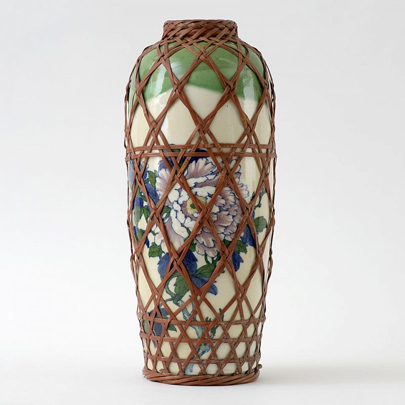 Large Antique Japanese Pottery Vase with Bamboo Weave, c. 1900.