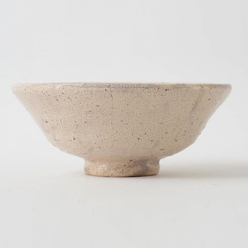 Antique Japanese Conical Ido-Style Chawan Tea Bowl  with Seal.