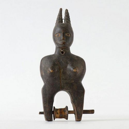 African Tribal Anthropomorph Wood Heddle Pulley, ex Coll. Graffenried.