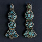 "A Pair Tibetan Woman's Jewelry Ornaments ""Akor"" with Turquoise."