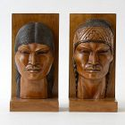 Decorative Andean Carved Bust Wood Bookends, Signed.