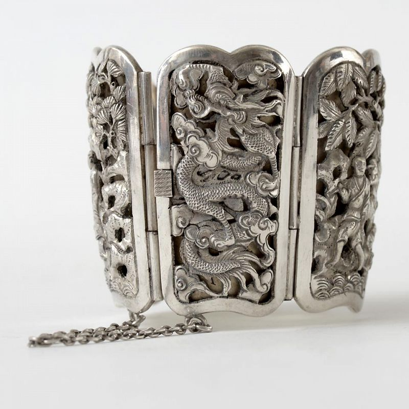 French Indochine Exclusive Silver Bracelet Cuff, Early 20th C.