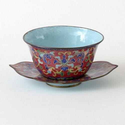 Chinese Canton Enamel Bowl & Saucer w. Lotus Scrolls, 18th/19th C.