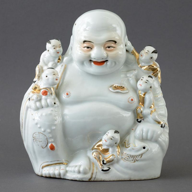 "A Chinese Porcelain ""Budai & Boys"" Figure, 20 th C."