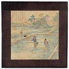 "Chinese Album Leaf Woodblock Print ""Yuzhi Gengzhi tu"", Qing."