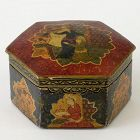 Hexagonal Persian Qajar Papier-Mache Lacquer Box, c. 1900.