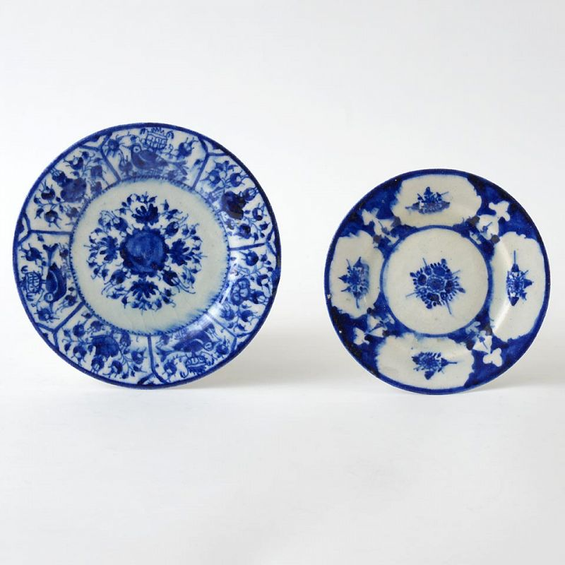 Two Persian Qajar Blue & White Fritware Plates, One Dated.
