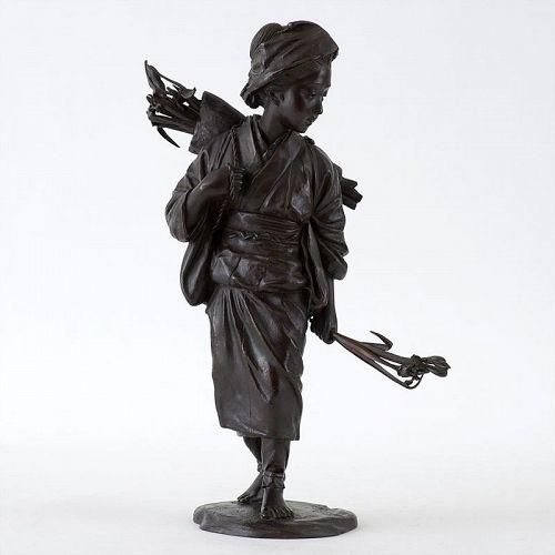 Large Signed Japanese Bronze Okimono of a Bijin, Meiji.