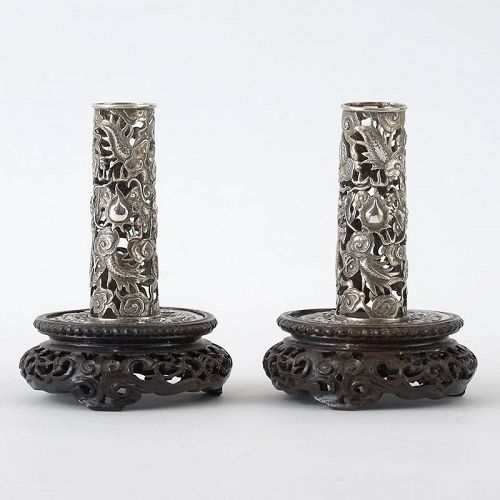 A Pair Chinese Silver Incense Stick Holders with Dragons, 19th C.