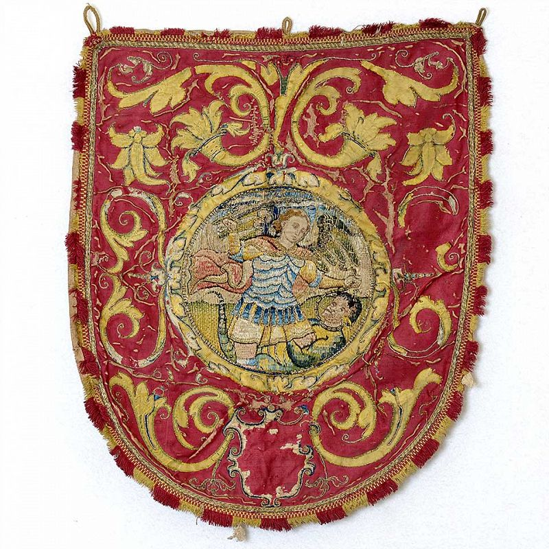 Embroidered Silk Cope Hood Orphrey w. Saint Michael, 17th or Earlier.
