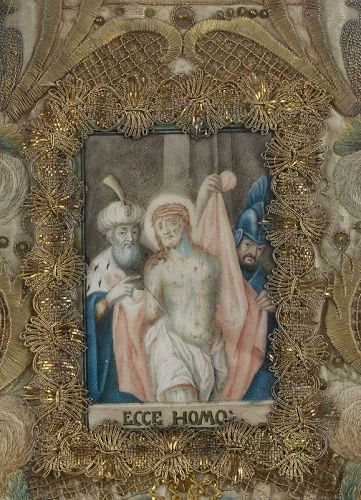 "Devotionlal Painting ""Ecce Homo"" on Vellum w. Silk Embroidery, 18th C."