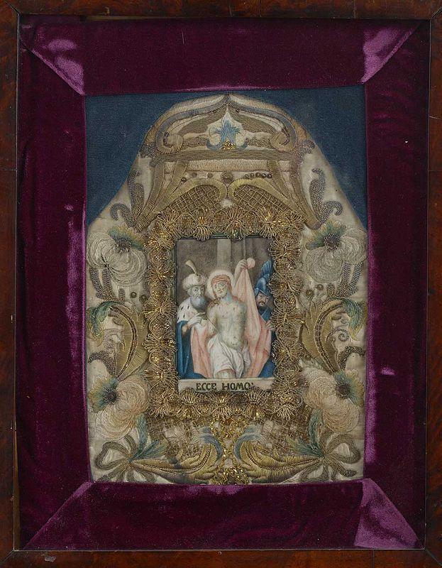 "Devotionlal Painting ""Ecce Homo"" on Vellum w. Silk Embroidery, 18th C."