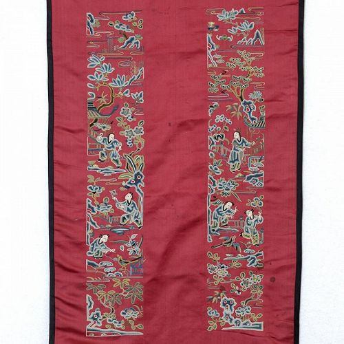 A Pair Undone Chinese Silk Sleeve Bands in Pekinese Stitch, Qing