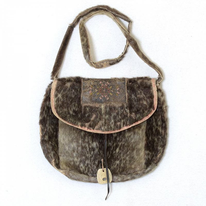 Old or Antique Seal Fur Inuit Bag with Mosaic Decoration.