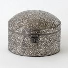 An Antique Koftgari Silver Damascend Steel Pandan Box, North India.