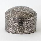An Antique Indo-Persian Silver Damascend Steel Pandan Box.