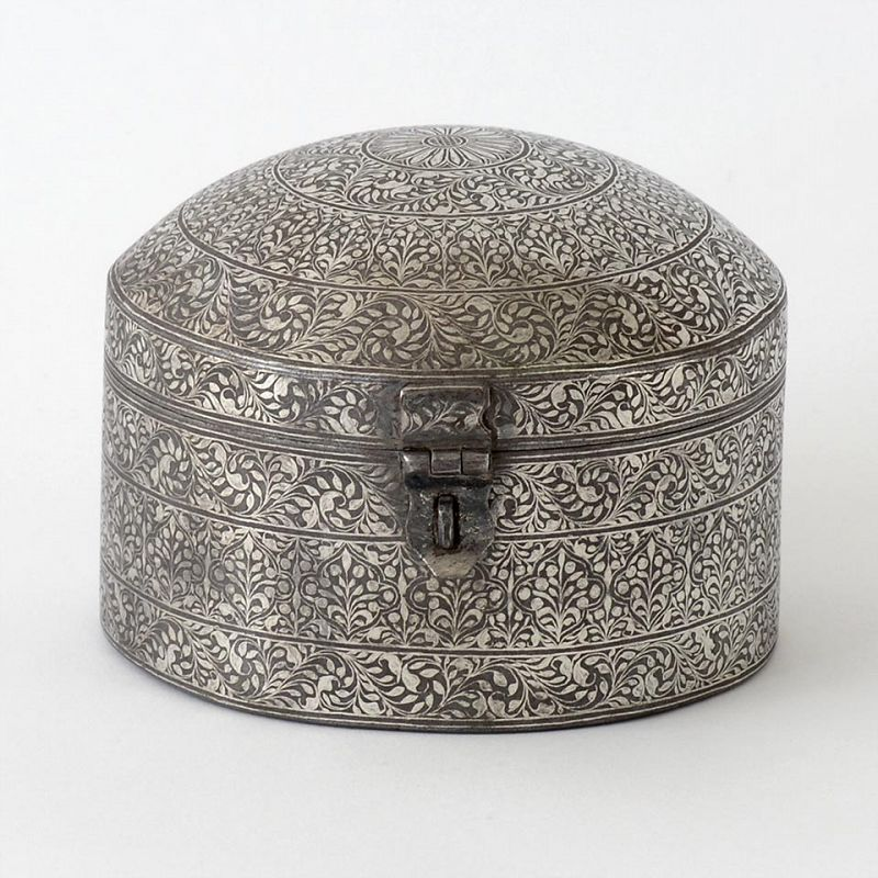 An Antique Indo-Persian Silver Damascend Steel Pandan Box.