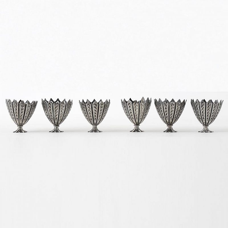 A Set of Six Antique Ottoman Silver Niello Zarf Cups with Tughra Mark.