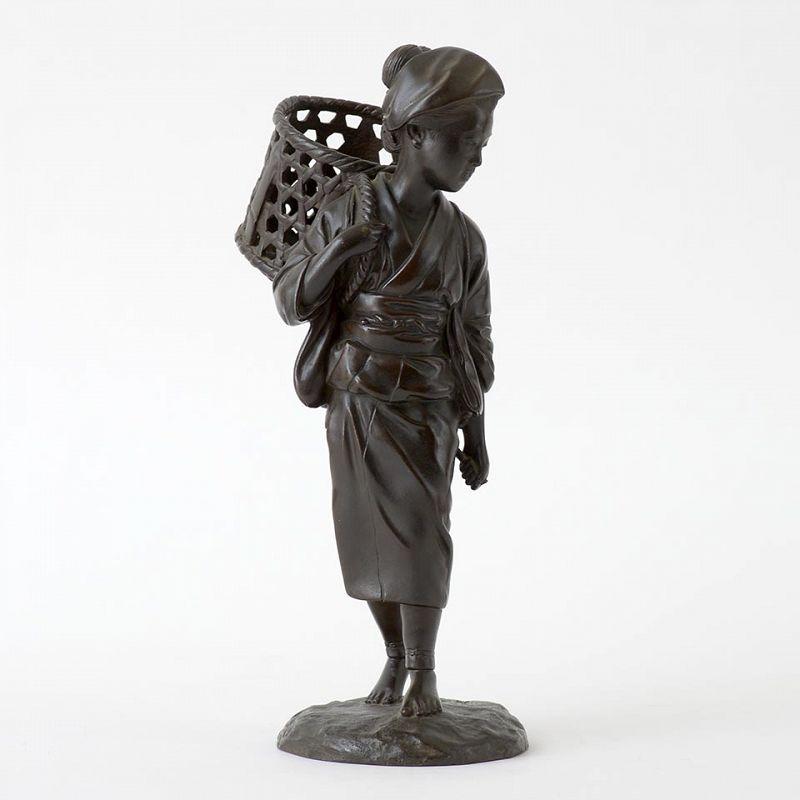 Signed Japanese Bronze Okimono of a Bijin, Meiji / Taisho.