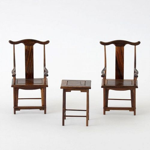 Set of 3 Pieces Chinese Hardwood Miniature Furniture, 20th C.