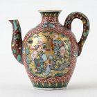 Antique Small Japanese Kutani Mokubei Style Porcelain Pitcher.