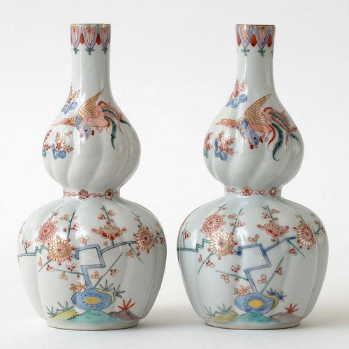 A Rare Pair of Japanese Kakiemon Style Arita Porcelain Vases, Meiji.