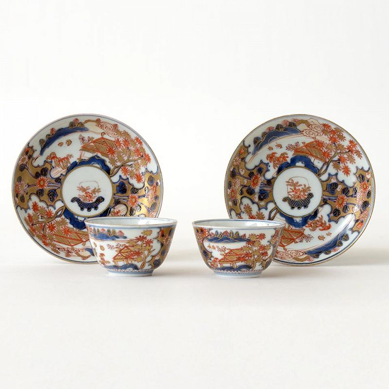 Two Japanese Imari Porcelain Cups & Saucers, c. 1700.