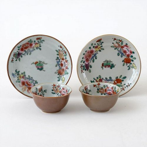 "Two Chinese ""Famille Rose"" Export Porcelain Cups & Saucers, 18th C."
