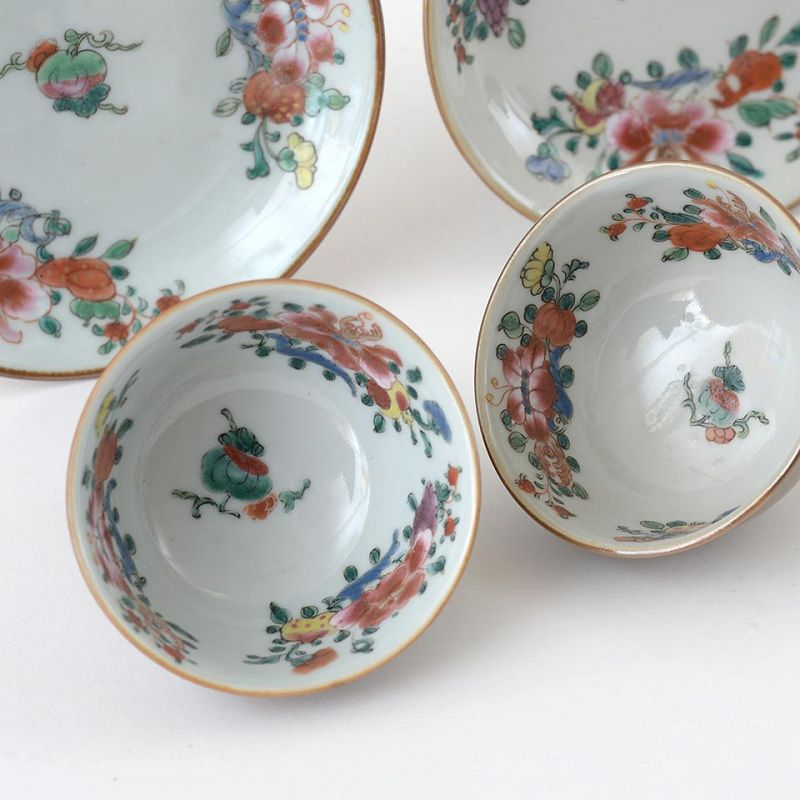 """Two Chinese """"Famille Rose"""" Export Porcelain Cups & Saucers, 18th C."""
