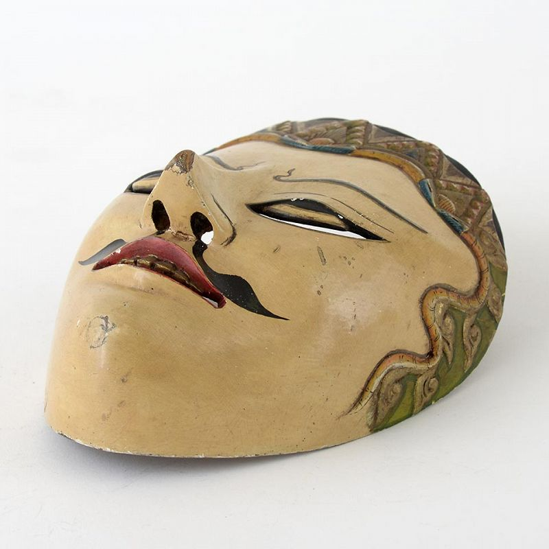 Old Javanese Wooden Wayang Topeng Theater Mask of a Prince.