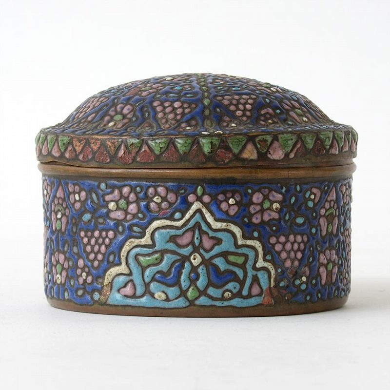 An Antique Syrian Enamelled Copper Box, 19th C.