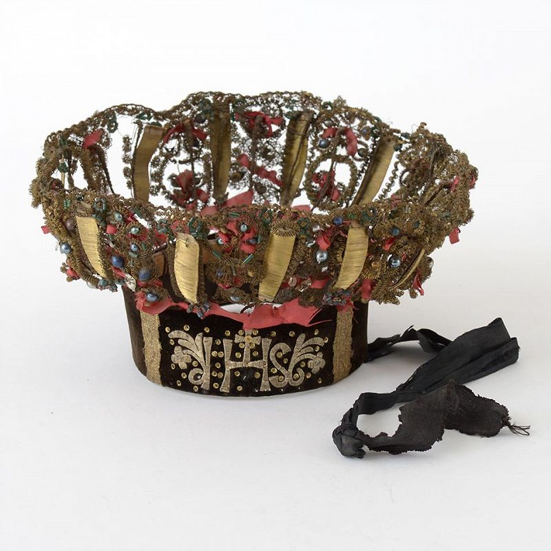 An Austrian Embroidered Tracht Girl's Frippery Crown, Early 19th C.