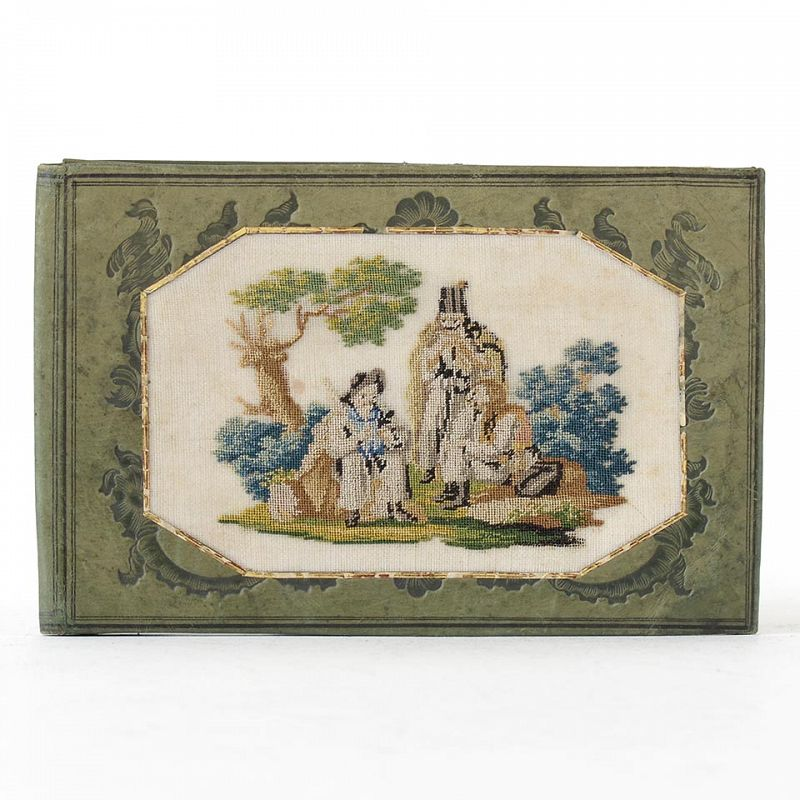 Fine European Embroidered Petit Point Leather Wallet, c. 1840.