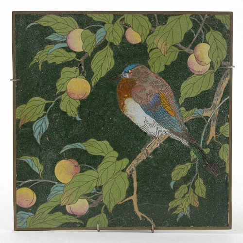 "An Early Japanese Cloisonne or ""Japonisme"" Enamel Plaque with Bird."