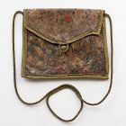 Antique Japanese Embossed Gold Leather Bag, 18th/19th C.