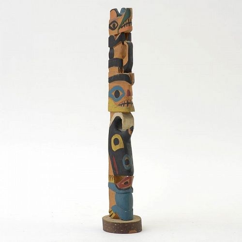 Inscribed Wooden Tlingit Model of a Totem Pole, dated New York 1931.