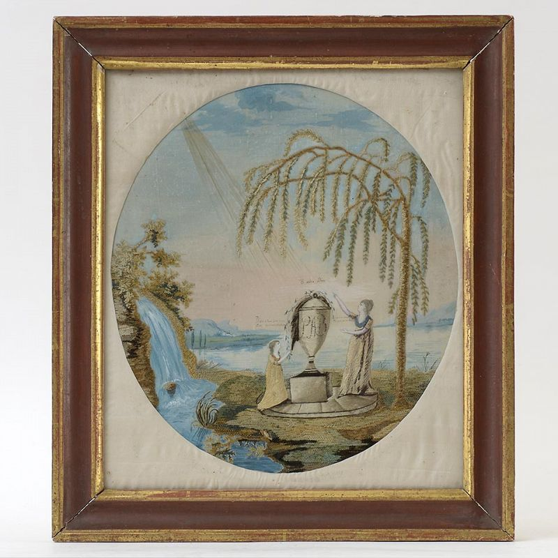 Antique Silk Needlework Embroidery Memorial Picture, Biedermeier.