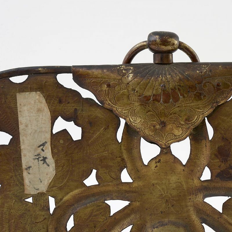 "Antique Japanese Buddhist Gilt Copper Temple Hanging ""Keman""."