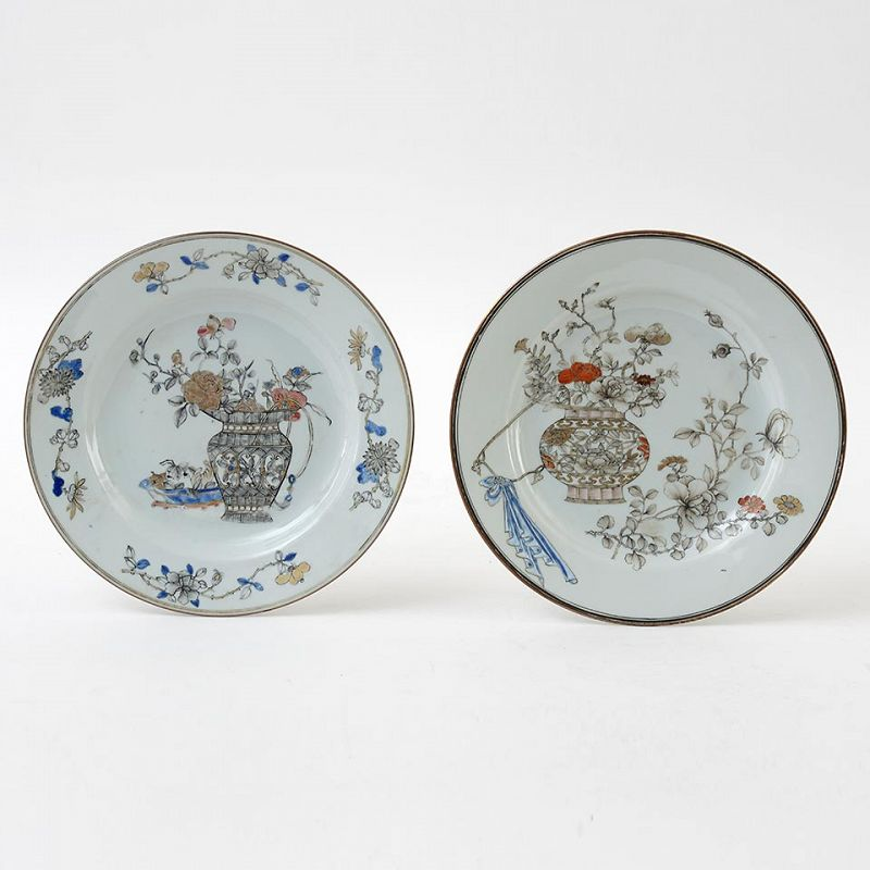 A Rare Pair of Fine Chinese Grisaille Porcelain Plates, Early 18th C.