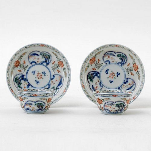 "Two Chinese ""Famille Verte"" Porcelain Cups & Saucers, Yongzheng."