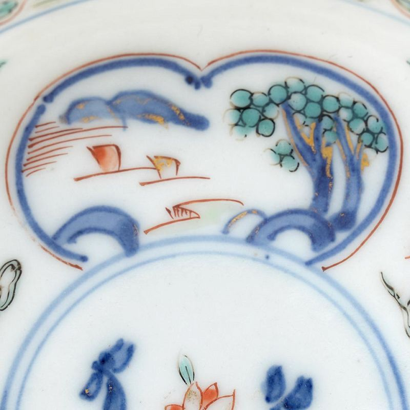 Two Japanese Kakiemon Style Porcelain Cups & Saucers, 18th C.