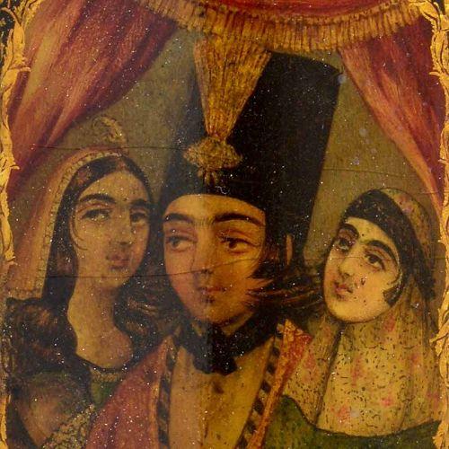 Fine Persian Papier-Mache Lacquer Qalamdan w. Nobleman & Ladies, 19th