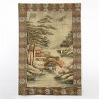 Antique Japanese Silk Embroidery Hanging w. Temple & Bridge, Meiji.