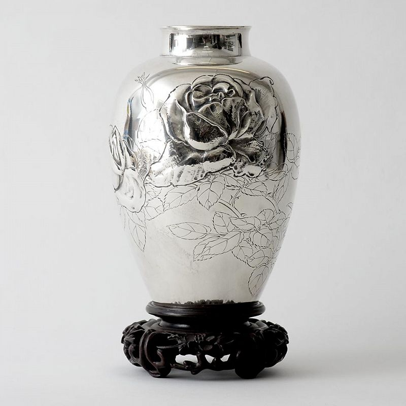Signed Japanese Sterling Silver Vase with Flowers, Early 20th C.