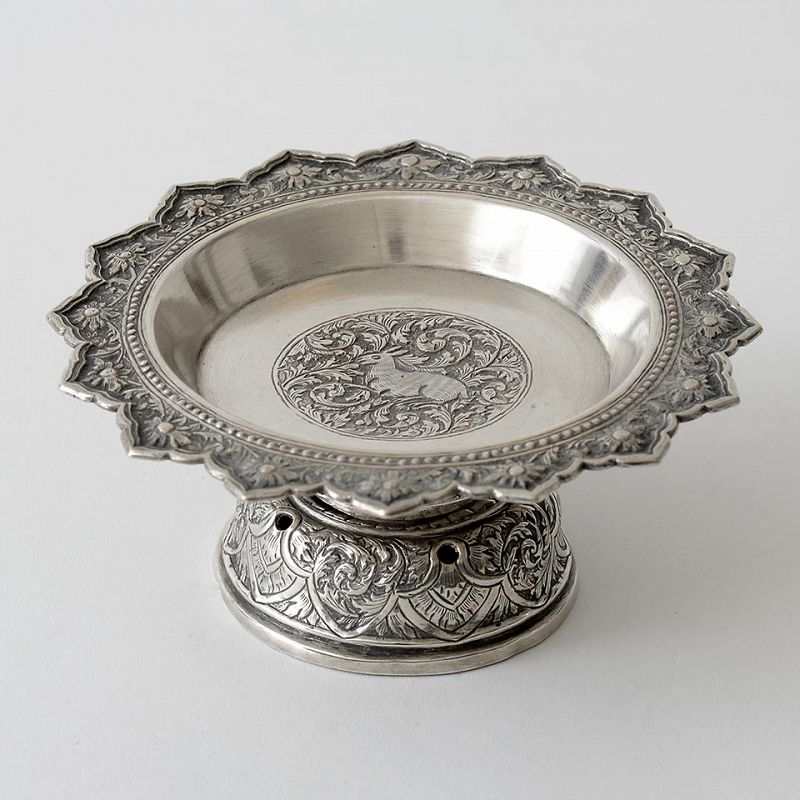 Antique Thai Silver Offerring Stem Dish or Toh Stand.