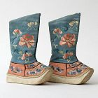 Antique Pair Chinese Embroidered Silk Childs Boots Shoes, Late Qing.