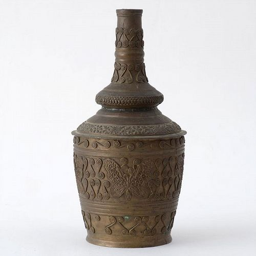 Old Malay Minangkabau Brass Bottle Vase, Sumatra-Indonesia.