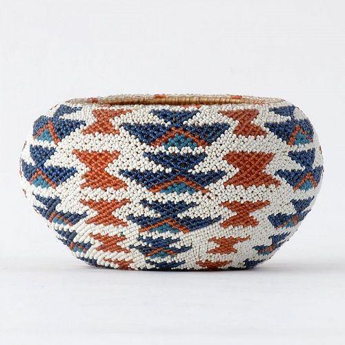 Native American Paiute Beaded Basket, 1st Half 20th C.